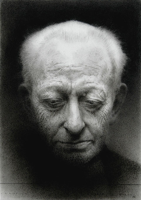 Michael. Black chalk and pencil drawing. 38 x 26.5 cm.