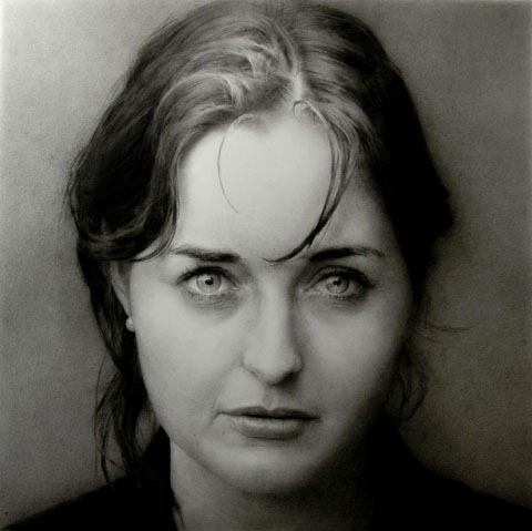 Katherine. Black chalk and pencil drawing. 100 x 100 cm.