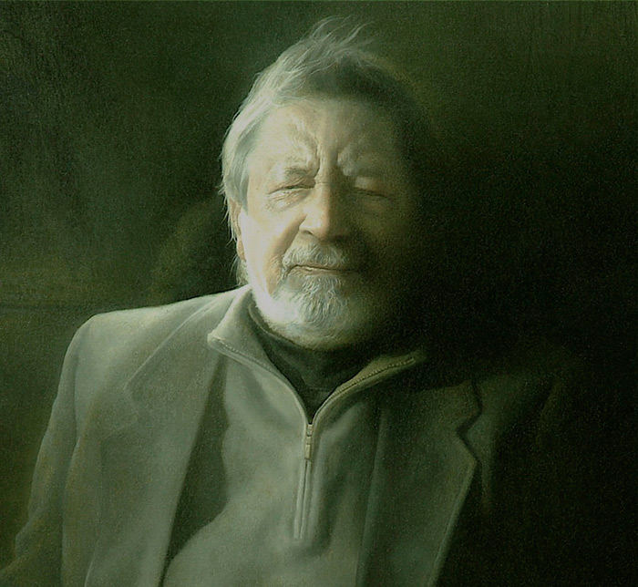 Sir V. S. Naipaul. Detail. Oil on canvas.