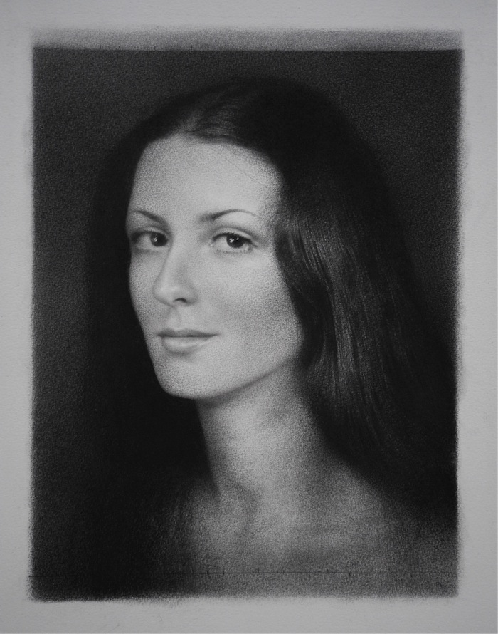 Susanne. Black chalk and pencil drawing. 36 x 27 cm.