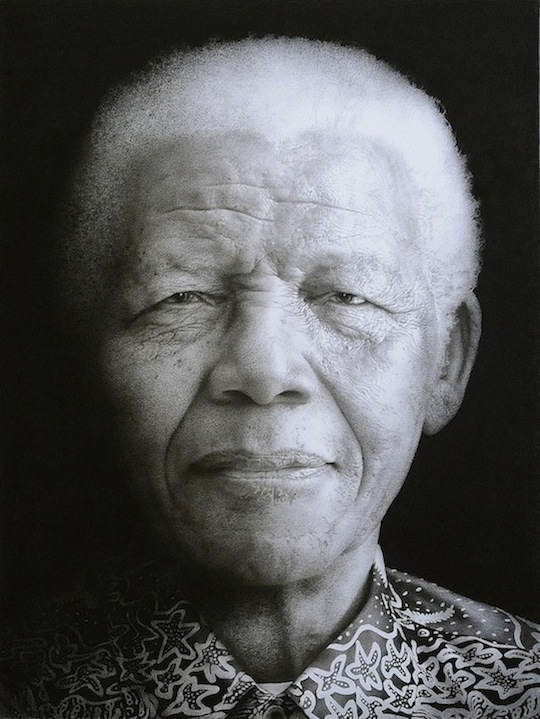 Nelson Mandela. Black chalk and pencil drawing. 117 x 88.5 cm.