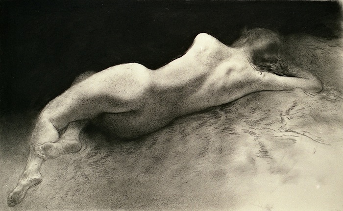 Reclining figure. Chalk drawing.