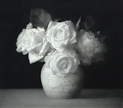 Roses in a jar. Black chalk and pencil drawing.36.5 x 46.5 cm.